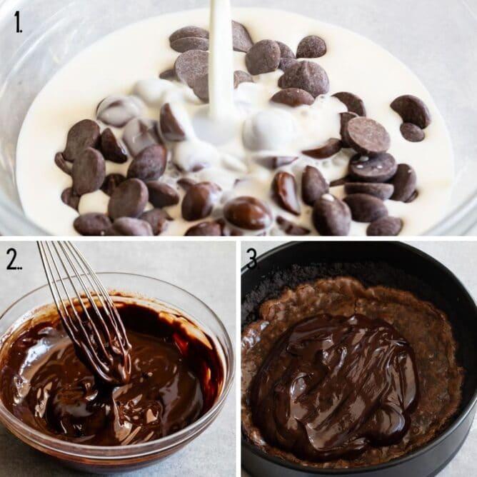 Three process photos of making chocolate ganache for mississippi mud pie