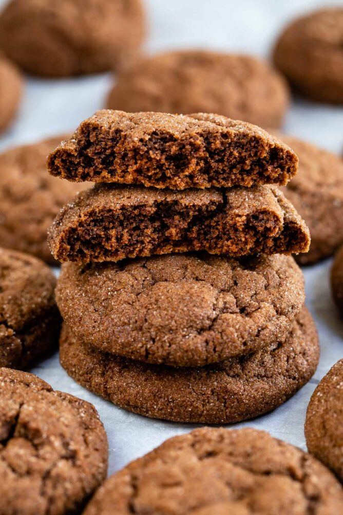 chocolate snickerdoodles on white background