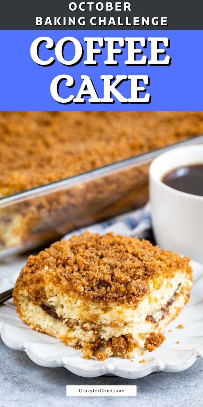 slice of coffee cake with words on photo