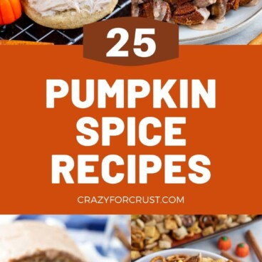collage of pumpkin spice recipe photos with words on photo