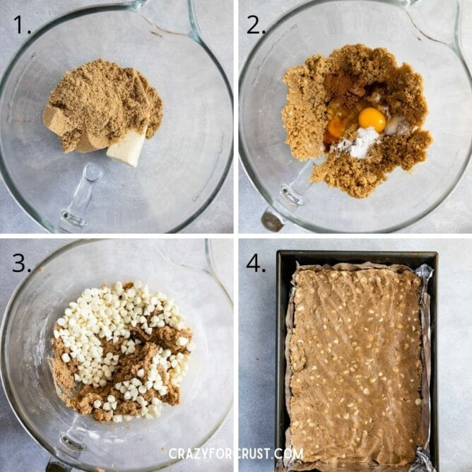 Overhead shot of four photos showing the process in making pumpkin spice blondies
