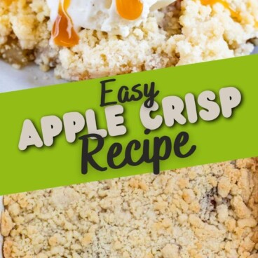 photo of apple crisp on plate and in pan