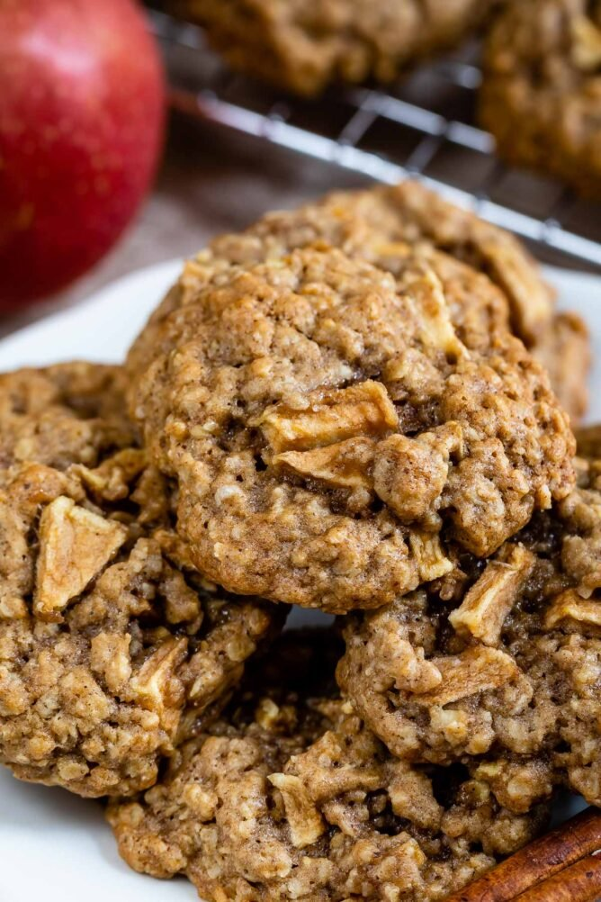 Group of apple oatmeal cookies