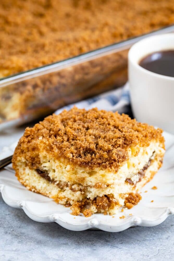 One piece of streusel coffee cake on a plate