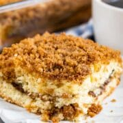 Close up shot of one piece of streusel coffee cake on a white plate