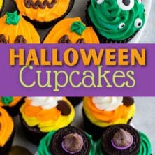 Photo collage of halloween cupcakes with recipe title in the middle of two photos