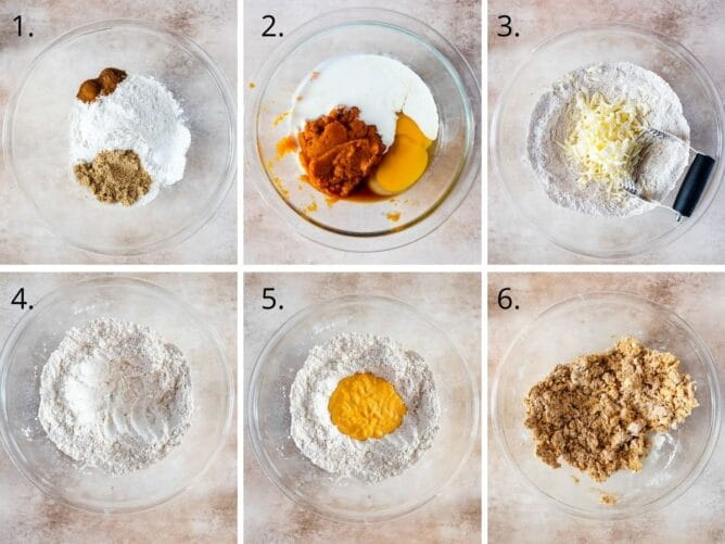 Overhead shot of six photos showing the process of making pumpkin scones