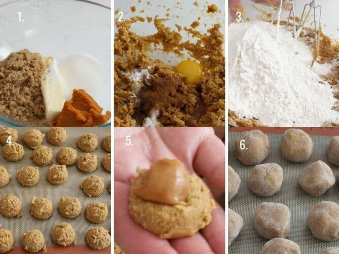 Six photos showing the process of making caramel stuffed pumpkin cookies