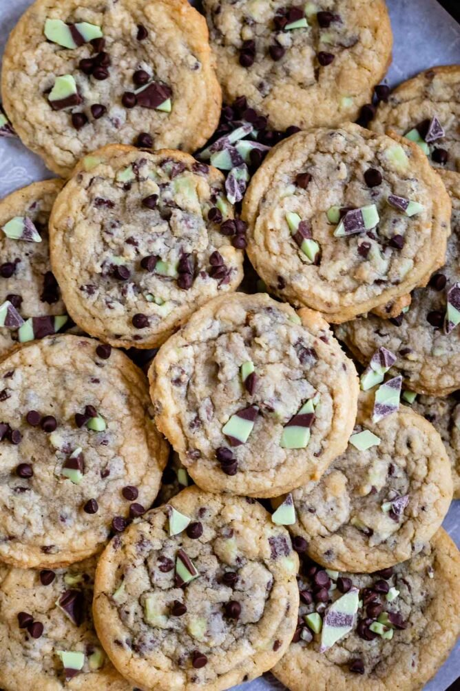 Overhead shot of a bunch of mint chip chocolate chip cookies